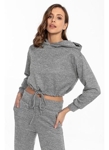 Tiffany&Tomato Beli Tünelli Kapüşonlu Kaşkorse Sweatshirt - Tarçın Gri